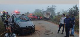 Quatro pessoas ficam feridas após acidente com três veículos na BR-153 em Rianápolis
