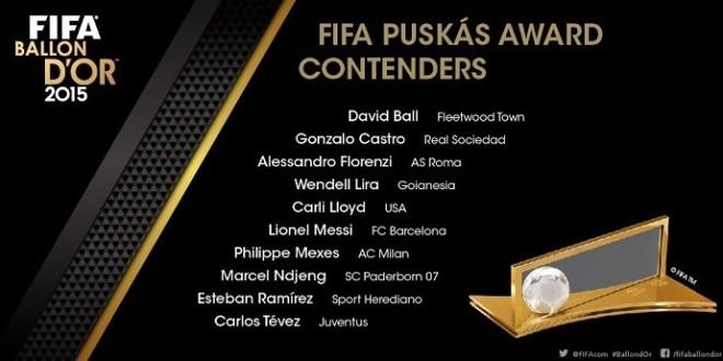 Messi, Tevez e brasileiro e jogador  do Goianésia-GO disputam o Prêmio Puskas